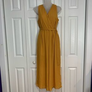 Mustard Yellow jumpsuit Pantsuit One Piece V Neck
